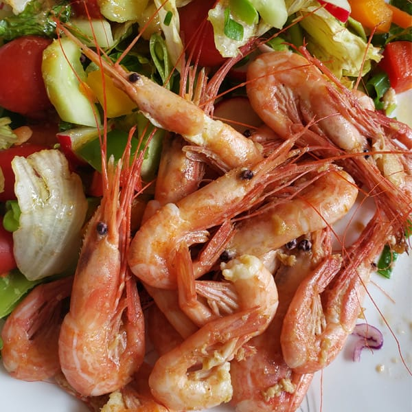 Fresh BC Sidestripe Shrimp salad - Tanya-Ray FIshing